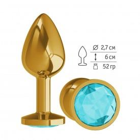 Золотистая анальная втулка с голубым кристаллом - 7 см.
